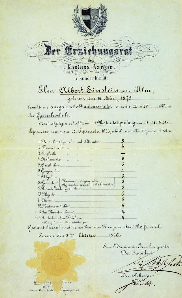 Albert Einstein's school report