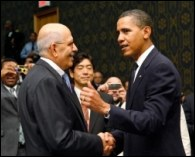 Mohamed El Baradei with Colin Powell