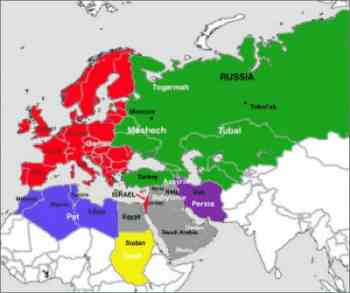 Map illustrating the modern nations prophesied in Ezekiel 38 & 39 as invading Israel