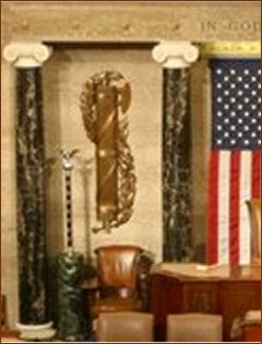Fasces behind speaker of US Senate