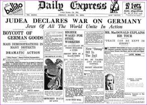 Judea declares war on Germany, Daily Express March 24, 1933