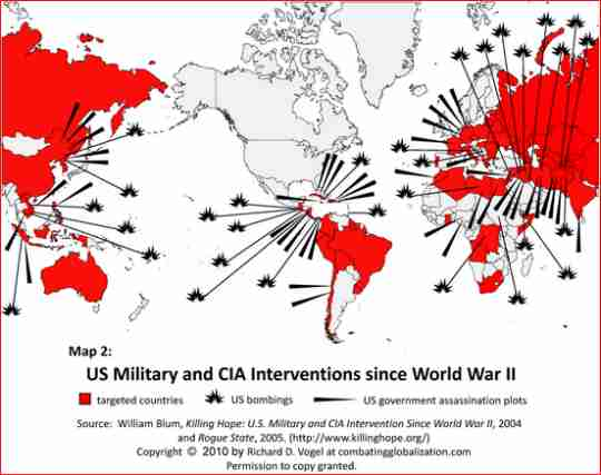 Map US/CIA interventions since WWII